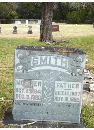 Headstone of Andora Keesee Smith Potts and her first husband D. C. Smith