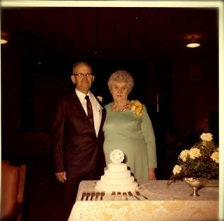 Photo:  Chester Owen Middleton and Johnnie Velma (Reese) Middleton celebrating their 50th Wedding Anniverary with family and friends