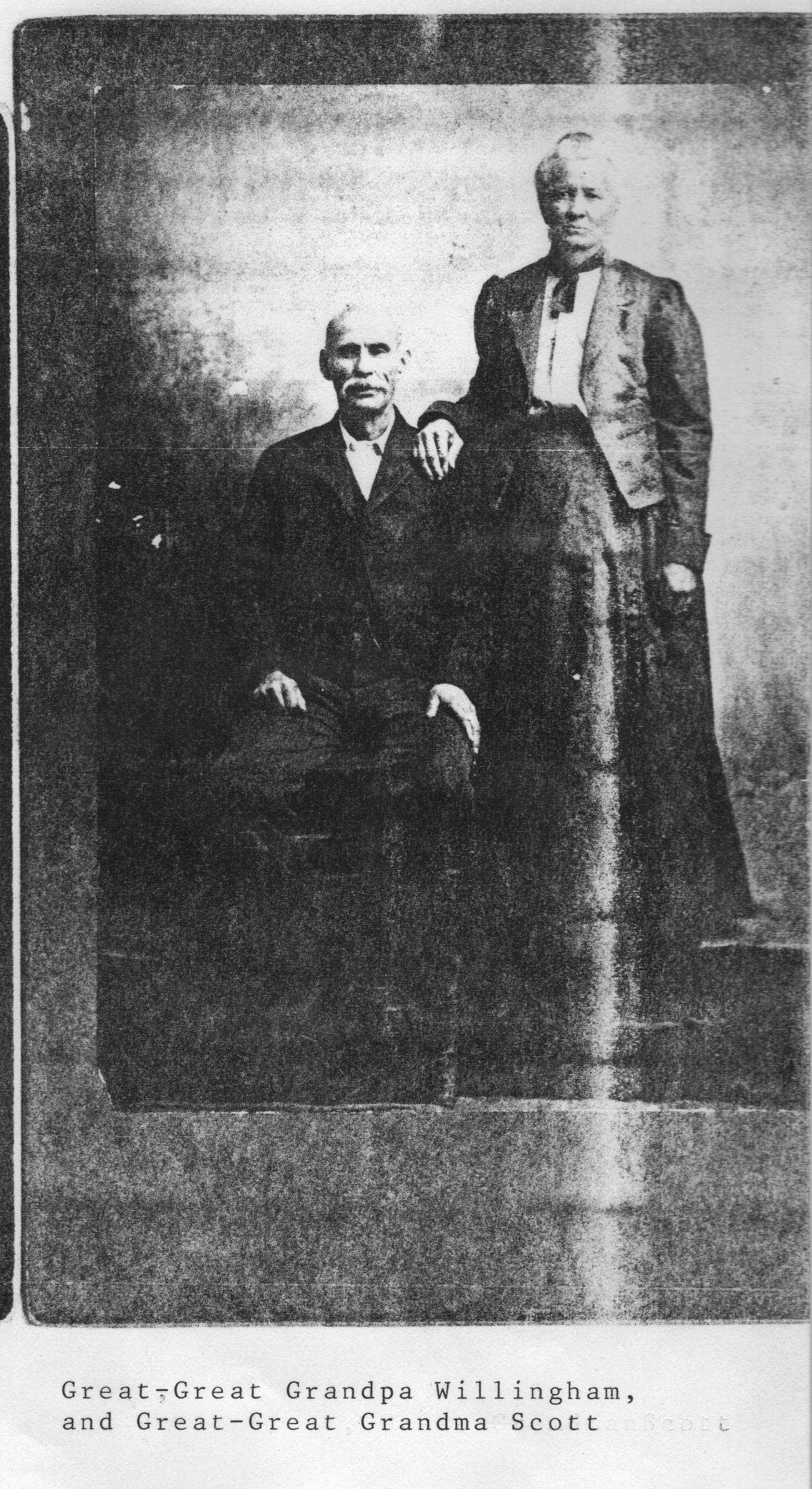 Lydia Caroline Reich Willingham Scott.  The photo is lableled that this is William Rhodes Willingham, but due to the fact that he died before he was 40 I think that this must be Mr. Scott.  Both individuals look to be older.
