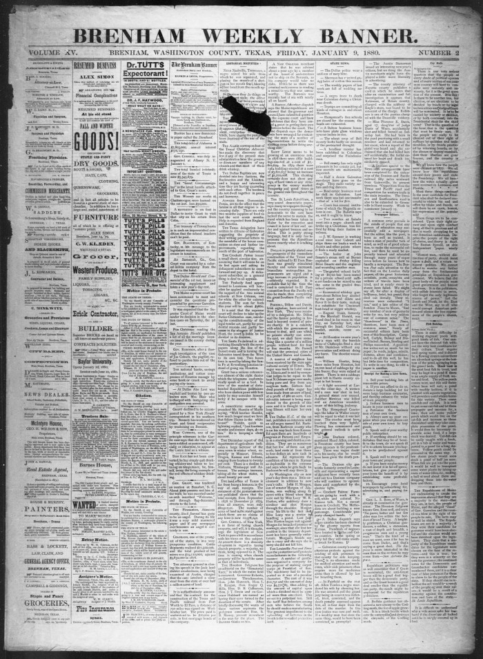 Brenham Weekly Banner. (Brenham, Tex.), Vol. 15, No. 2, Ed. 1, Friday, January 9, 1880